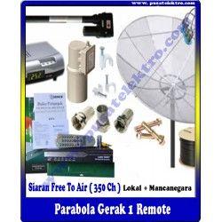 PARABOLA GERAK 1 REMOTE  Benefit & Keuntungan Yang Anda Dapatkan : - 1 Unit Dish 7 Feet Mesh - 1 Unit Reciever MPEG-2 & LNBF Single - 1 Unit Actuator/Positioner ( Automatic ) - 10 Meter Kabel 5C-75 Ohm - 1 Unit Tiang Triport - Siaran Bebas Iuran (350 Channel) - Gratis Biaya Pemasangan - Garansi Barang 1 Tahun (Receiver)   Pesan & Pasang Sekarang Juga...!!!  Pusat Elektro Phone : (021) 560 5533 Mobile : 0812 8930 5533 W.A. : 0859 5905 5000  Info Lengkap :http://www.pusatelektro.com