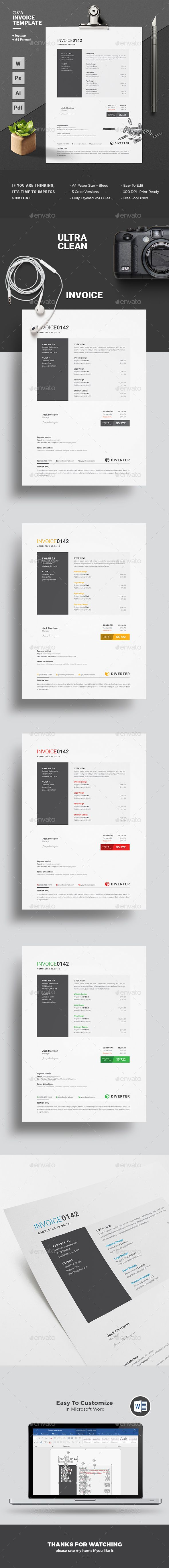 #Invoice - #Proposals & Invoices #Stationery Download here: https://graphicriver.net/item/invoice/17838622?ref=artgallery8