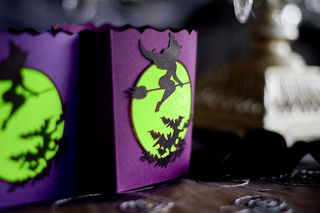 Fabulous purple & green witch party favors.