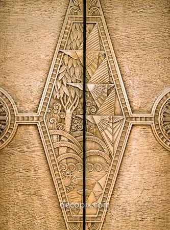Art Deco Metalwork, Brass Elevator Doors.