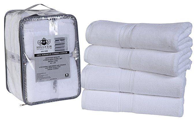 Hillfair 4 Pack Cotton Bath Towels Set 600 Gsm 100 Combed Cotton