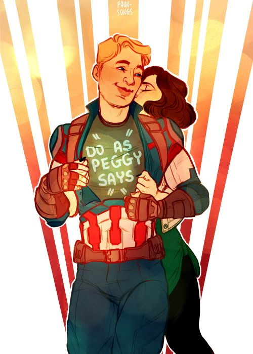 "Captain America in ""do as Peggy says"" tshirt fanart by faun-songs"