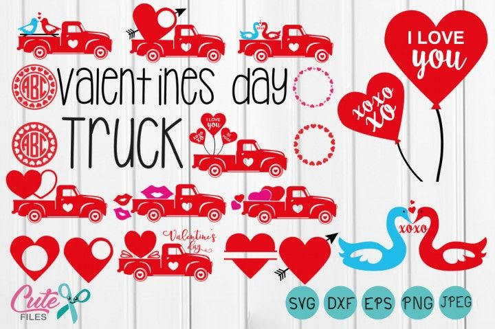 Truck Valentines Day Boys Valentine Svg Truck Svg Circle Monogram F By Cute Files Valentines For Boys Valentines Svg Valentines Design
