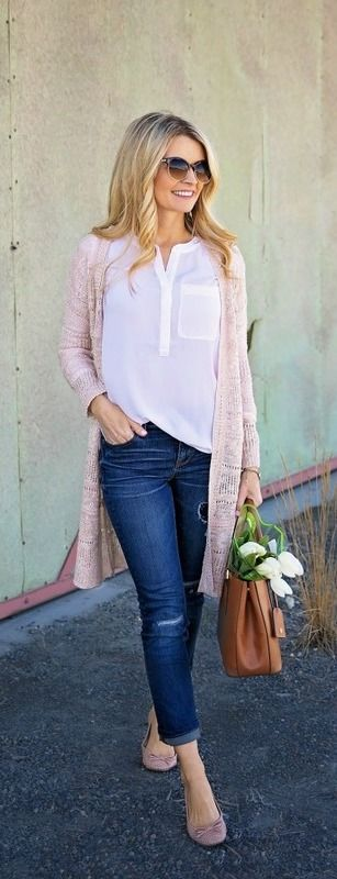 white blouse, pastel pink cardigan and denim.