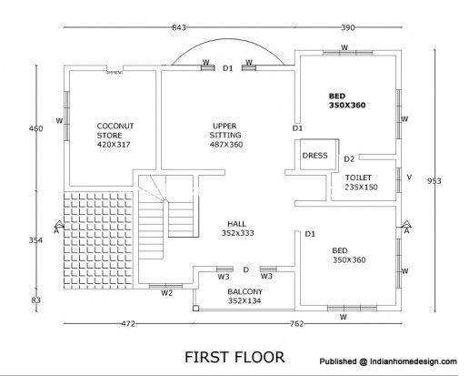2300 sqft 211 sqm rcc 4 bhk house floor plan2d views - 2d Home Plan