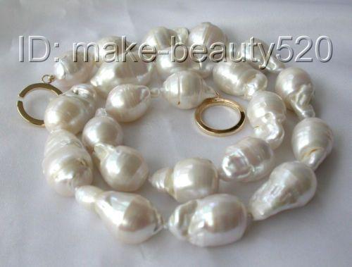 Big 22mm Baroque White Keshi Reborn Freshwater Pearl Necklace 14k Gold S658 | eBay