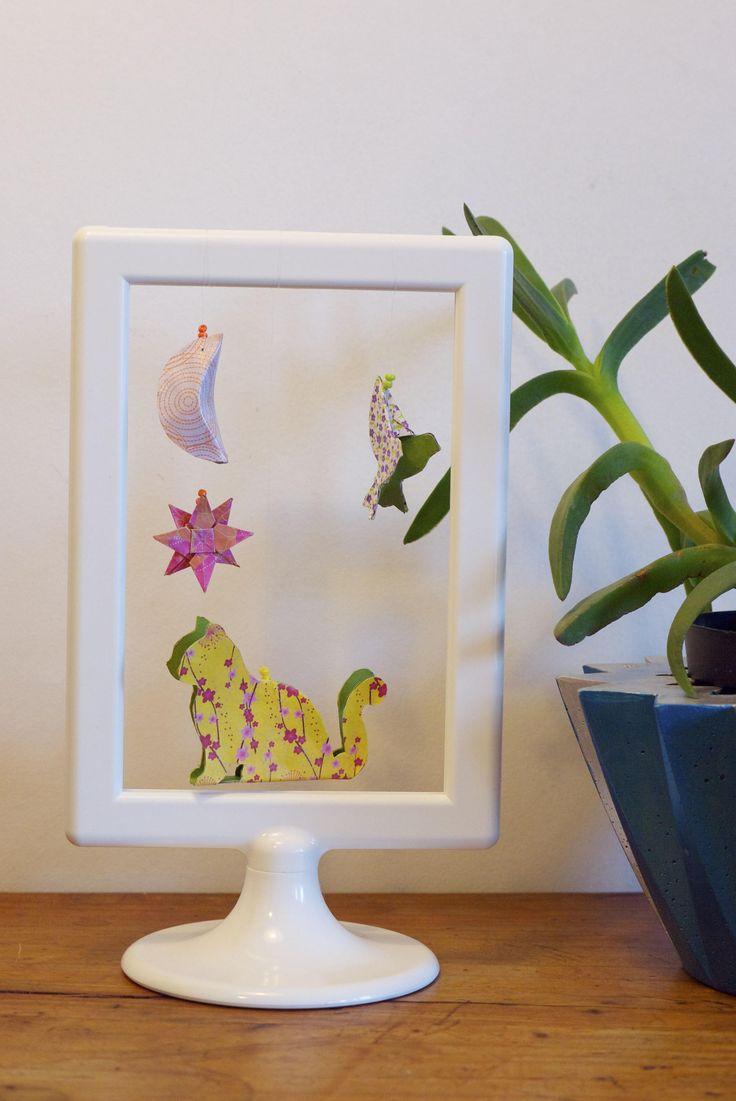 Cadre en papier découpé décoration animaux chat oiseau étoile lune 3D chambre enfant bébé de la