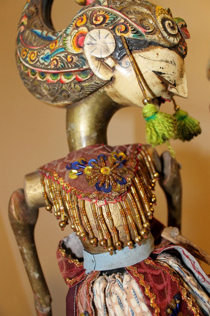 Hand Carved/Painted Indonesian Wood Rod Puppets.