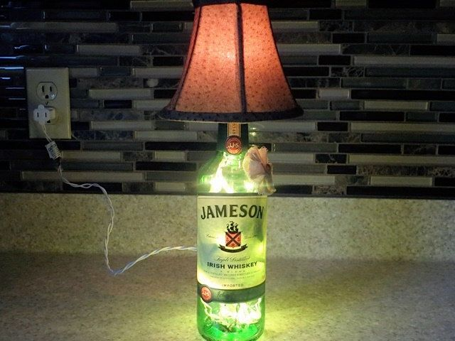 Decorative Jameson Liquor Bottle Lamp, Bottle Lighting with Shade, Recycled Wine Bottle Light, Unique Gift by BlessYourHeartVtg on Etsy