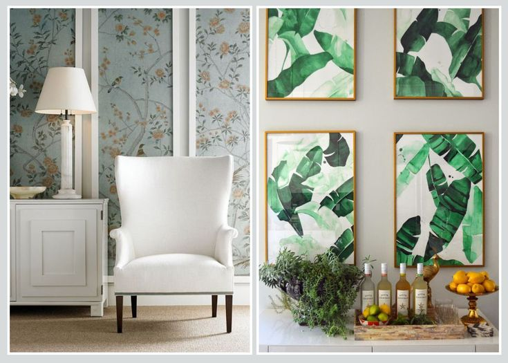 FRAMED WALLPAPER - Multiple frames of wallpaper art creates' rhythm and visual impact.