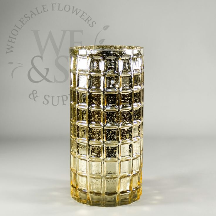 """Mirrored Mosaic Glass Cylinder Vase In Gold 10"""""""