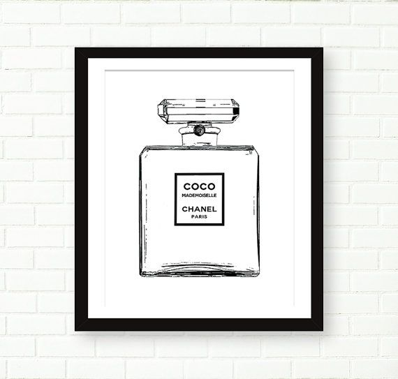 Chanel Bottle Print, Modern Black And White, Cooc Mademoiselle Fashion Art by PeachAndGold
