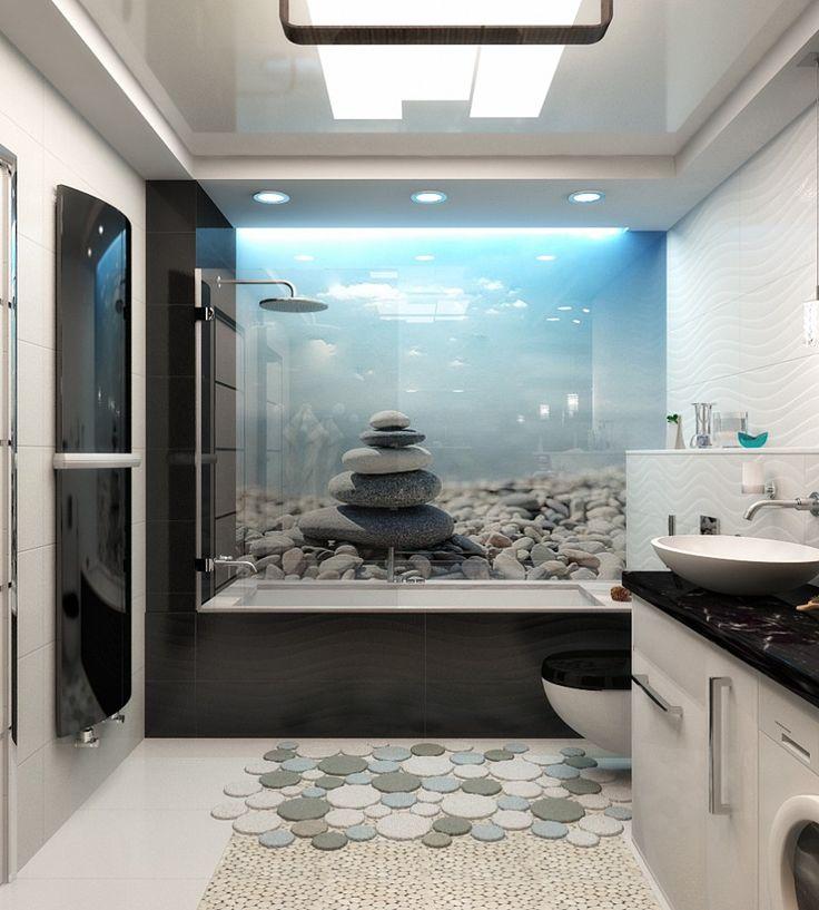Морской дизайн ванной, 3D визуализация