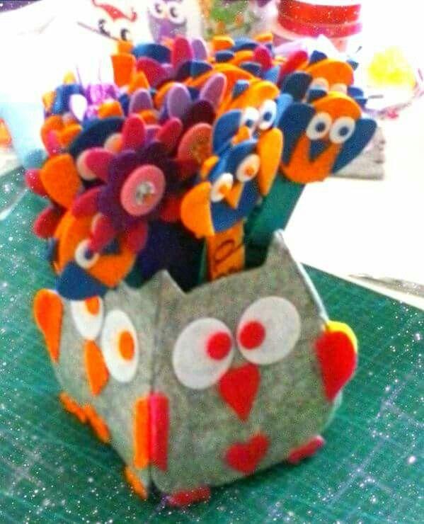 Gufo portapenne felt owl