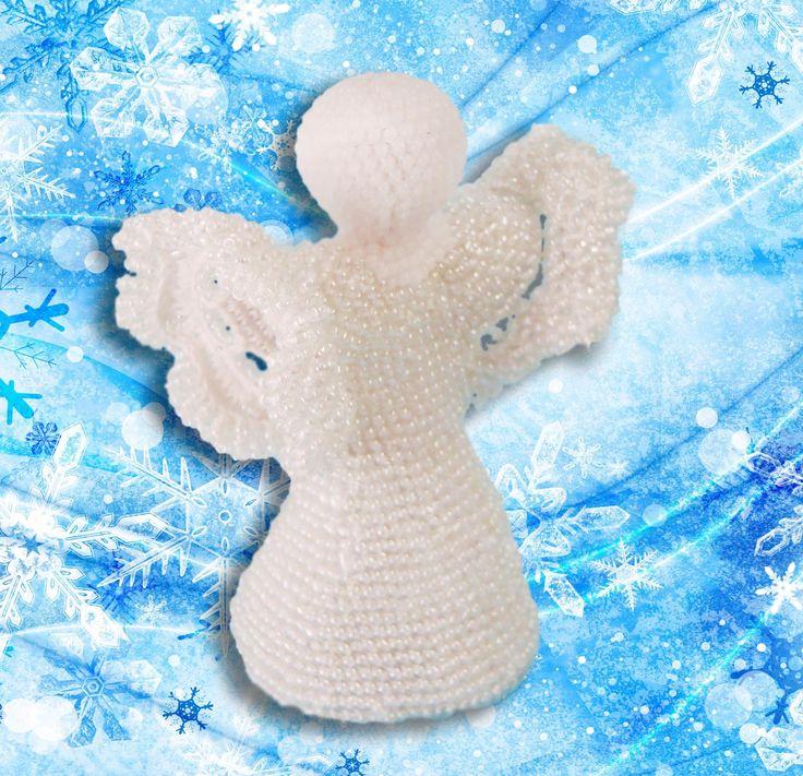 Angel of beads knitted. Master-сlass. Мастер-класс по вязанию с бисером Ангел на именины. https://vk.com/chudovyaz_podarki