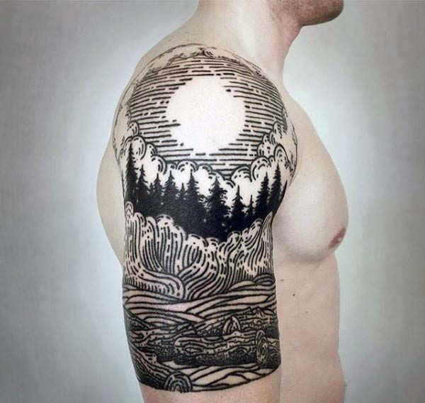 Nature Pine Tree With Sun Woodcut Guys Tattoos Half Sleeve