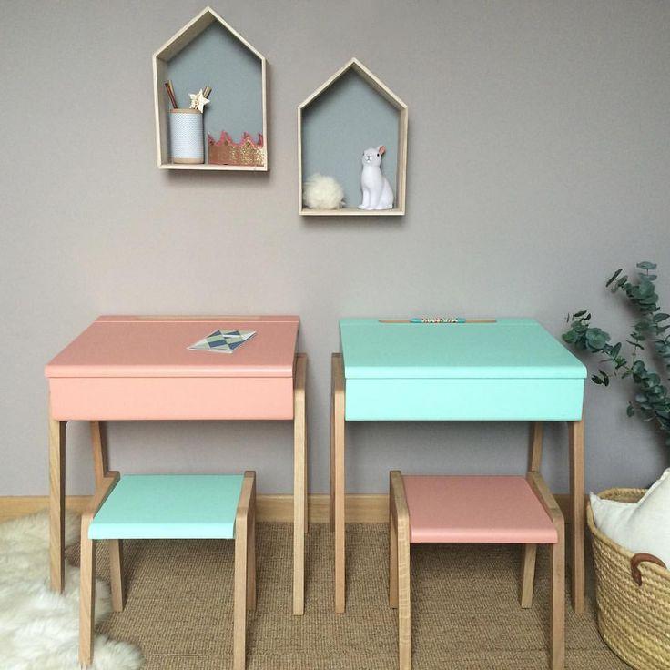 """69 Me gusta, 2 comentarios - JUNGLE BY JUNGLE (@junglebyjungle) en Instagram: """"#desk #kids #bureau #enfant #chambreenfant #kidsroom #decoration #pink #mint #rose #vert #chene…"""""""