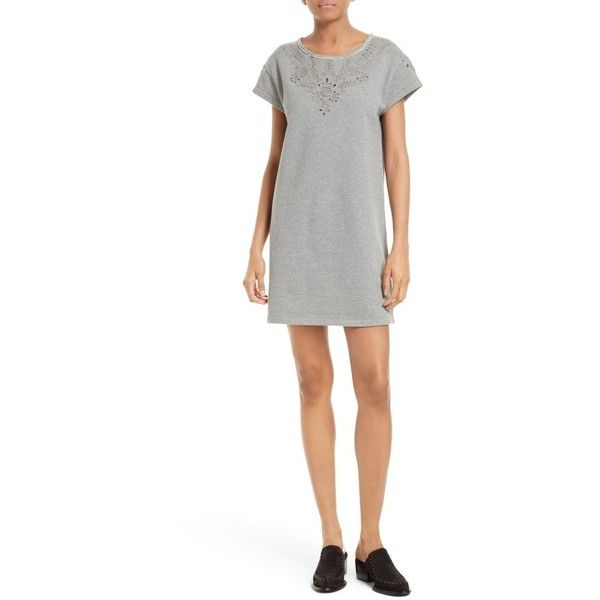 Women's Rag & Bone/jean Eyelet Cotton T-Shirt Dress ($225) ❤ liked on Polyvore featuring dresses, heather grey, t shirt dress, cotton summer dresses, eyelet dress, t shirt shift dress and floral shift dress
