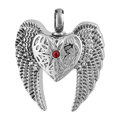 """Perfect Memorials Angel Heart Wings Stainless Steel Cremation Jewelry. Stainless Steel. Holds Small Amount of Dried Flowers, Burial Soil, Locks of Hair & Cremains. Outside Size: 1-1/2"""" W x 1-1/16"""" H x 5/16"""" D. 20"""" Black Satin Cord & Presentation Box Included. The Cremation Pendant Closes Securely With A Threaded Screw."""