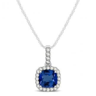 Get this wonderful design of 1.00ct Cushion Tanzanite Pendant With .2ctw Diamonds in 14k White Gold for just $875.99.