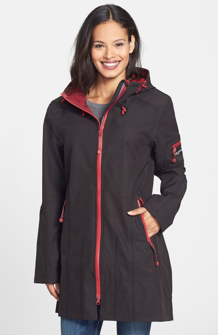 Ilse Jacobsen Hornbaek Hooded Water Resistant - Coat Love this, it has a beautiful tomato red pop of color too!