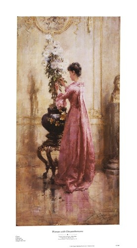 Woman with Chrysanthemums Art Print by Eugene Boudin