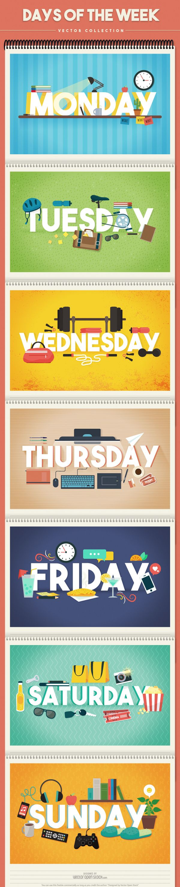 #daysoftheweek #days #week #Monday #Tuesday #Wednesday #Thursday #Friday #Saturday #Sunday #activities #features #cartoon #graphics #vector #images #design #graphic #image #free #collection #set