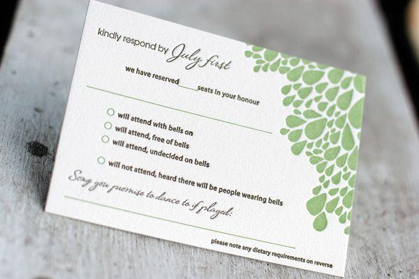 cute response card wording! Hilarious wordings on this site!