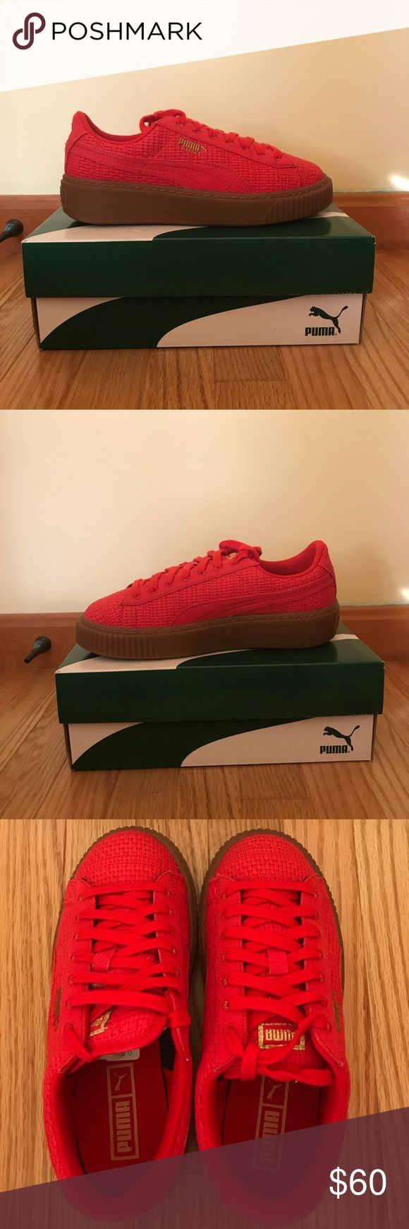 Puma Sneakers Bright red woven puma sneakers. Never before worn. Only a few weeks old. Originally got them on sale so I'm selling for $60 instead of $110. Super cute! Puma Shoes Sneakers