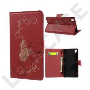 Carving (Rød) Sony Xperia Z3 Læder Flip Etui