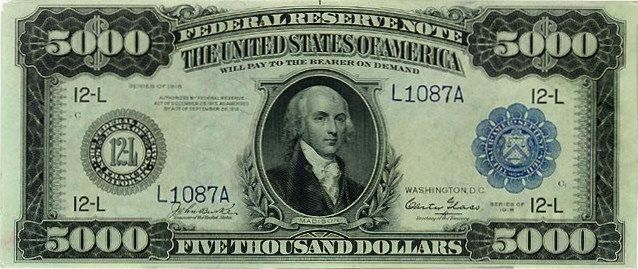 Fun fact! Madison was on the 5,000 dollar bill authorized and issued in North Carolina on may 10, 1780
