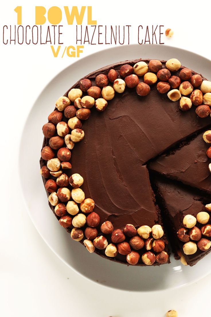 1 Bowl Vegan Gluten Free Chocolate Hazelnut Cake! So rich and fudgy you'd never guess it was #vegan and #glutenfree