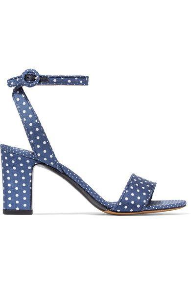 Tabitha Simmons - Leticia Polka-dot Twill Sandals - Navy - IT35.5