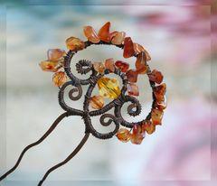"Проволочный креатив - Серьги с завитушками и кулон ""крыло бабочки"""