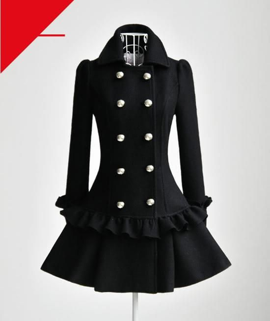 EXCLUSIVE: Elegant Lotus Trimming Double-breasted Wool Coat -CA$189 00Link    Click for more