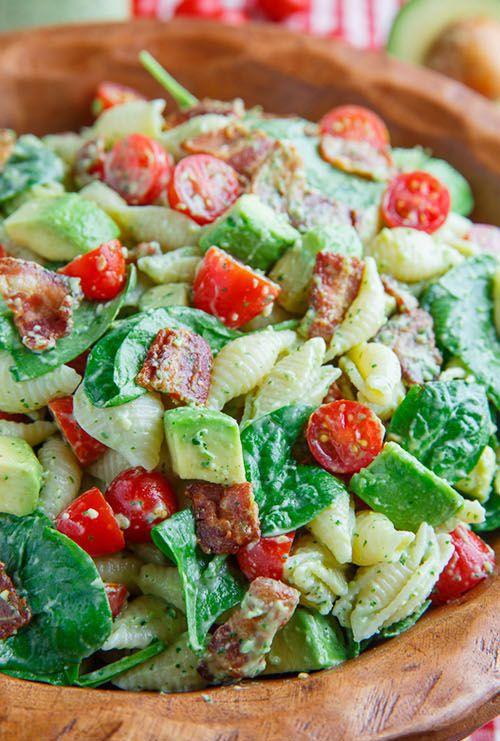 40 Melhores Receitas Salada de massa - Avocado BLT Salada de Macarrão