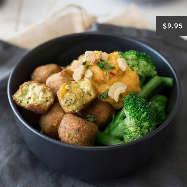 YouFoodz   Herby Falafel with Pumpkin Sauce $9.95   Tasty falafel topped with broccoli, green beans and smothered in a pumpkin & coconut sauce   #Youfoodz #HomeDelivery #YoullNeverEatFrozenAgain