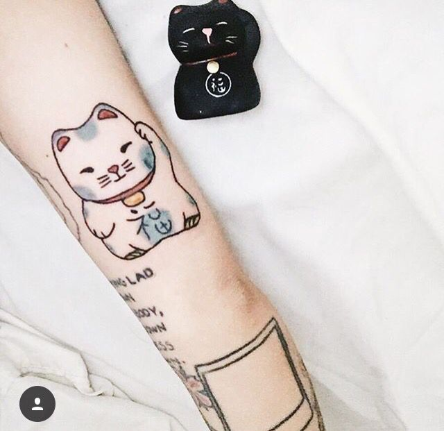 Lucky cat tattoo