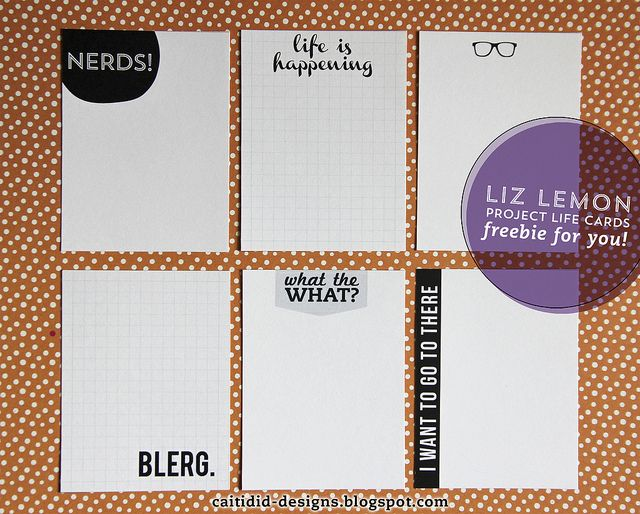Free Liz Lemon Quote Journaling Card set for project life. Nerds, blerg, glasses.