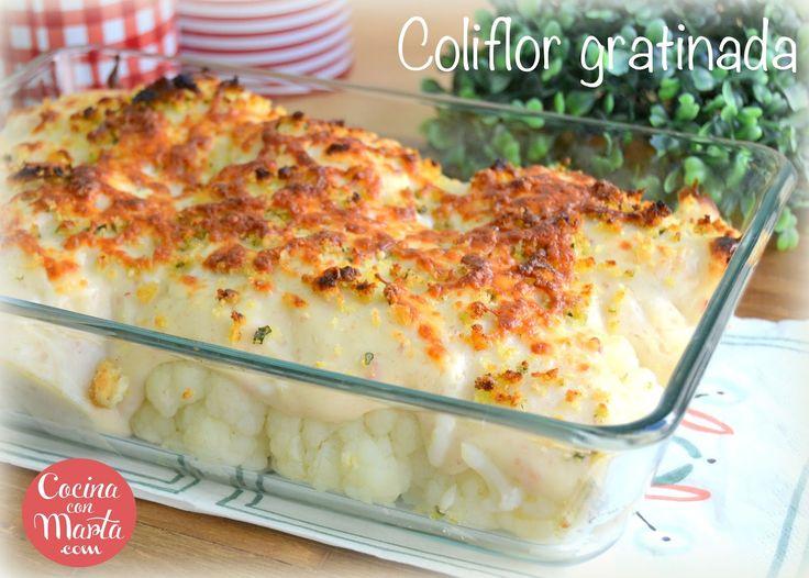 Coliflor gratinada con bechamel de ajo y bacon o jamón. Receta fácil, sana, rápida. Cocina con Marta