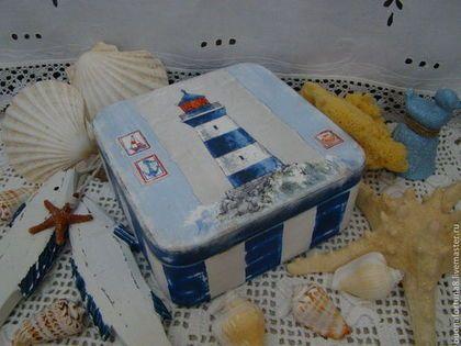 """Шкатулка """"Маяк"""" - тёмно-синий,морская тема,морской стиль,морская тематика"""