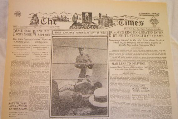 Old Newspaper LA Times Front Page 1921 Jack Dempsey by RareBooks, $1.00