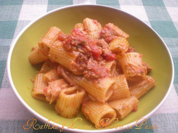 Mezze maniche al tonno,ricetta pesce   Raffika & Le sue Mani in Pasta