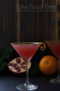 This Holiday Pomtini Cocktail uses orange vodka, peach schnapps and pomegranate juice.