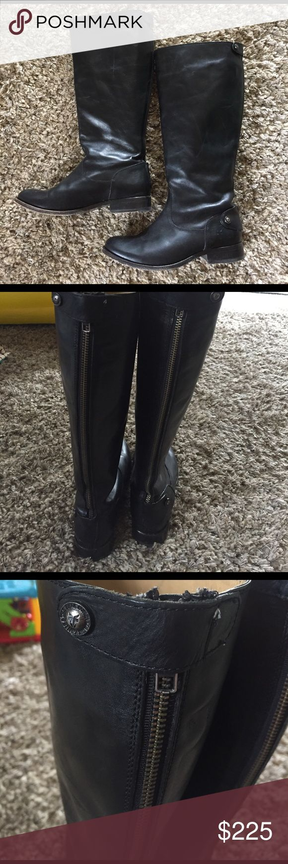 Frye Melissa boots Melissa button back zip boots by Frye. Great condition! Size 7 with extended calf. All other info in the 7th pic Frye Shoes