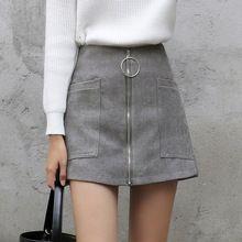 Lolita Style Mujeres de Cintura Alta de Invierno Mini Falda de Una Línea con Grandes Bolsillos Frontales/Espalda Cierre de Cremallera azul Marino gris Falda Pantalón(China)