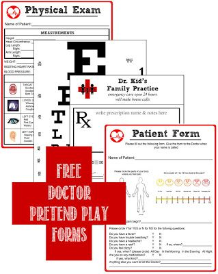 Free Printables- Doctor Pretend Play.. Just bought Doc McStuffins medical center so this would be great!!