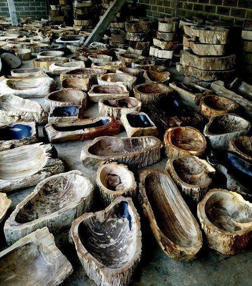 Waschbecken aus versteinertem Holz für Großhandelspreise. Waschbecken aus fossilem Holz und