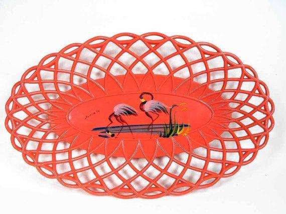 Vintage Flamingo Bowl - Mid Century Bowl, Original Acrylic Bowl, Retro Flamingo Bowl, Retro Wall Decor, Souvenir Flamingo Bowl