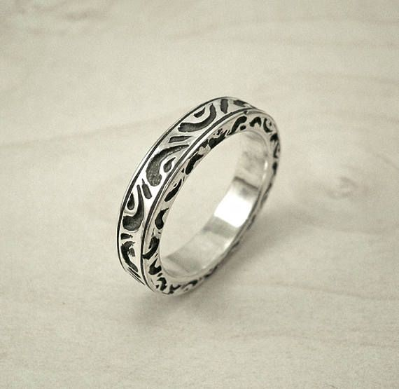 Vintage engagement ring,Antique wedding band,hand engraved wedding band,vintage silver ring,antique silver wedding band,vintage silver band
